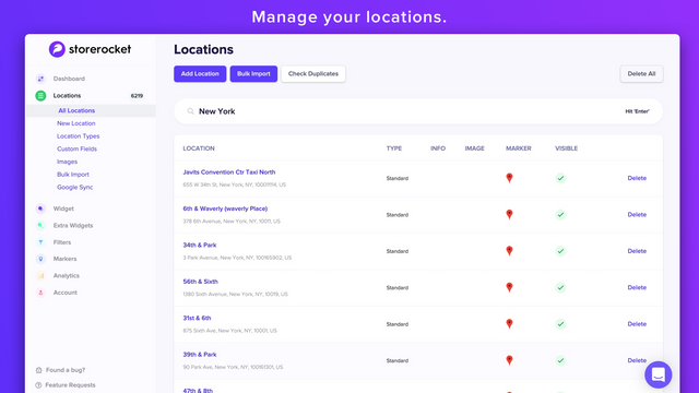 Manage your locations