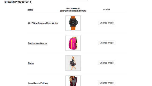 Control panel: List of products with images selected for hover