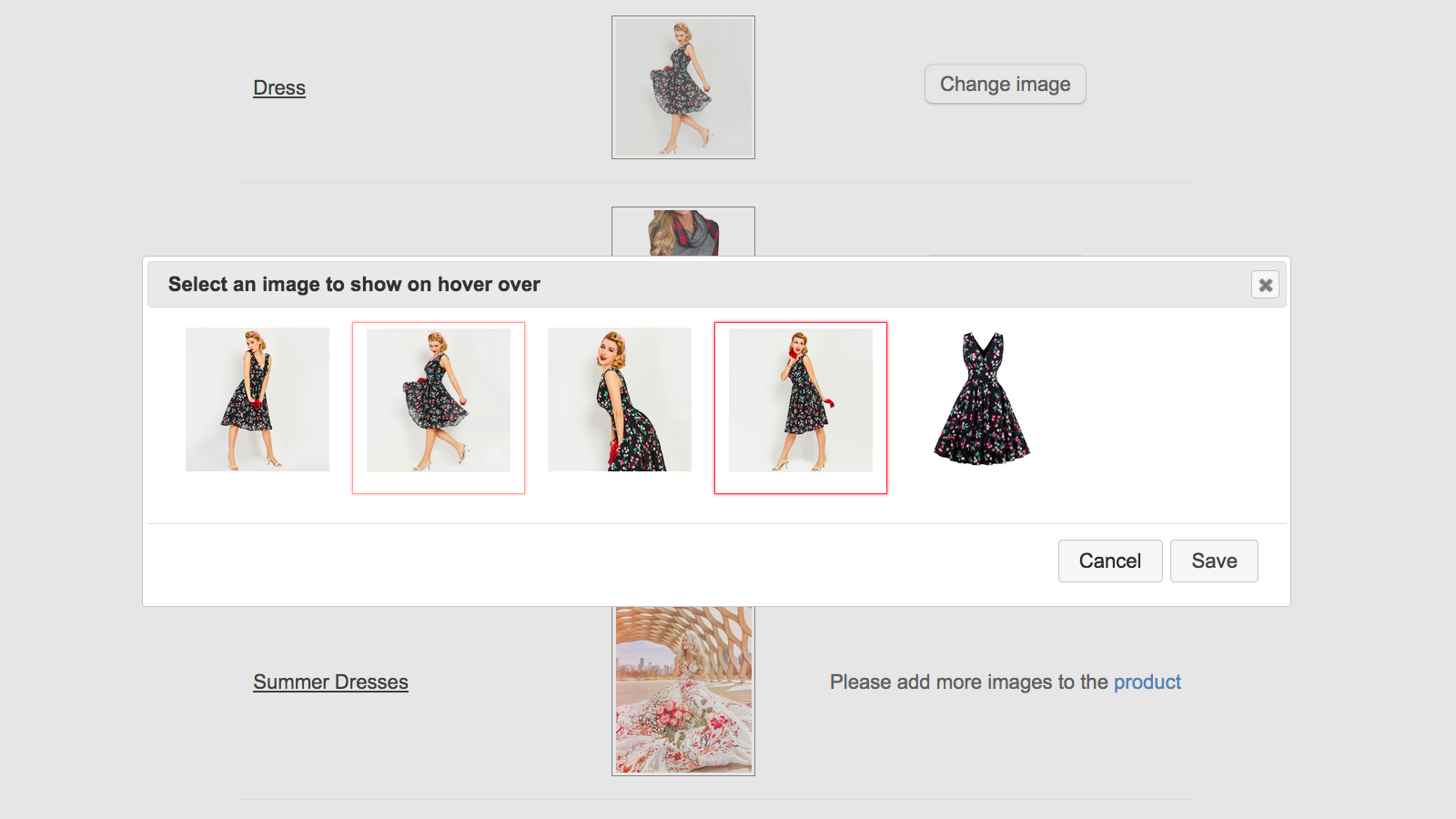 Control Panel: Selecting an image for hover effect