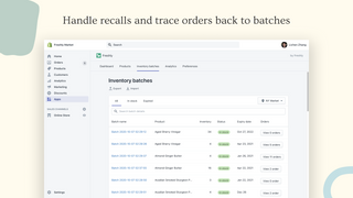 Handle recalls and trace orders back to batches