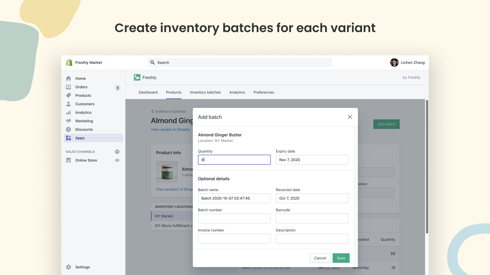 Create inventory batches for each variant