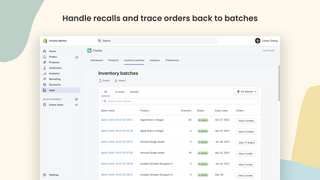 Handle recalls and trace orders back to batches or lots