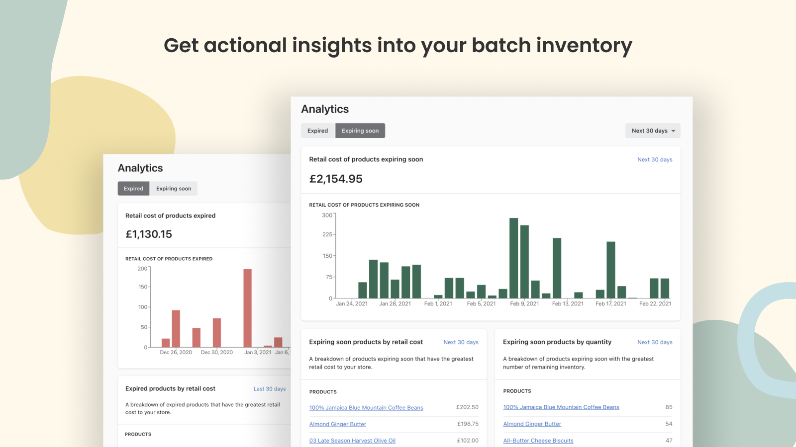 Get actional insights into your batch inventory