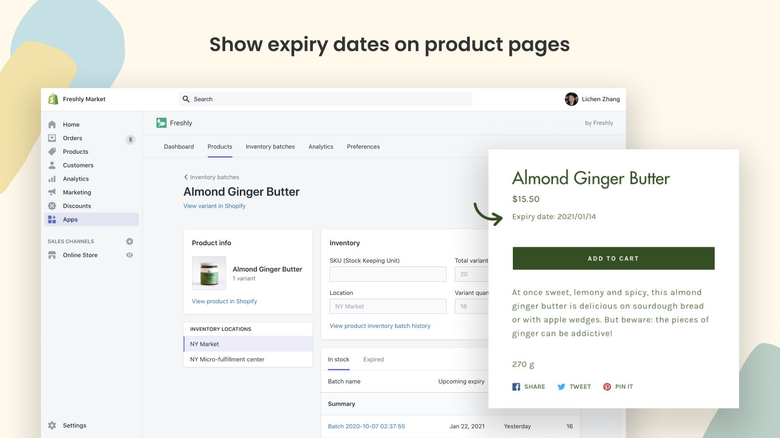 Show expiry dates on product pages