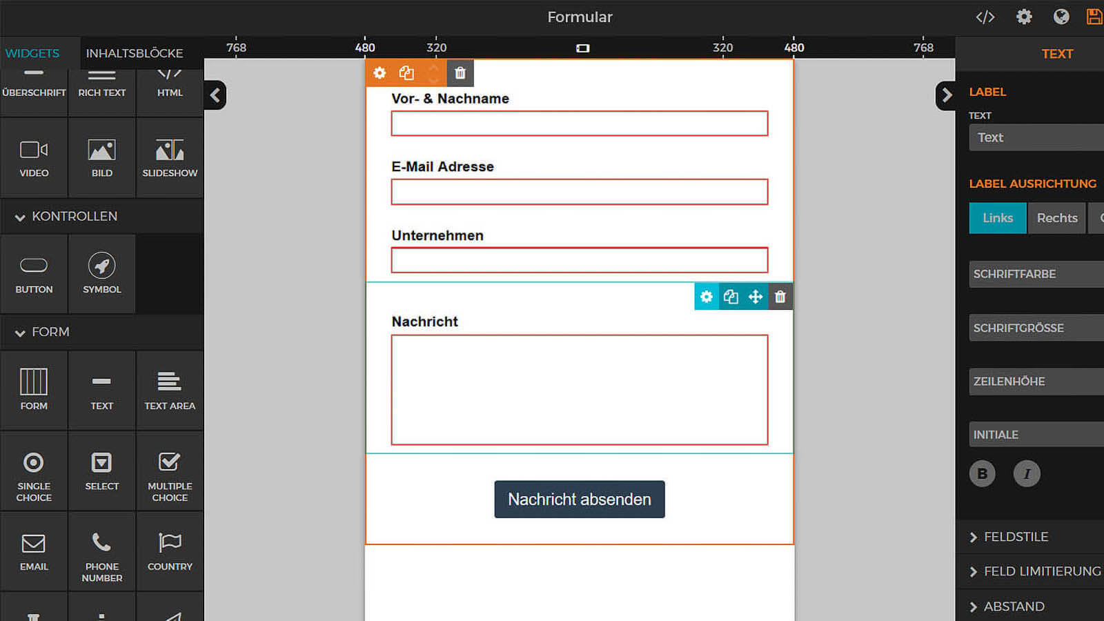 build create edit design forms questioners submit data