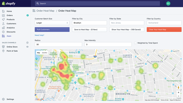 Shopify Order Heat Map