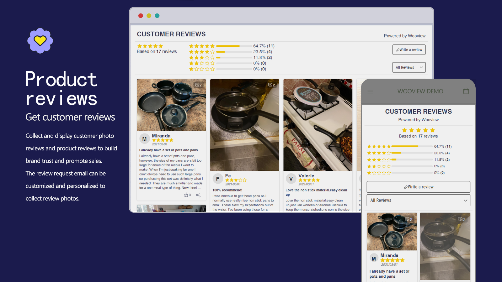 collect and display customer photo reviews and product reviews