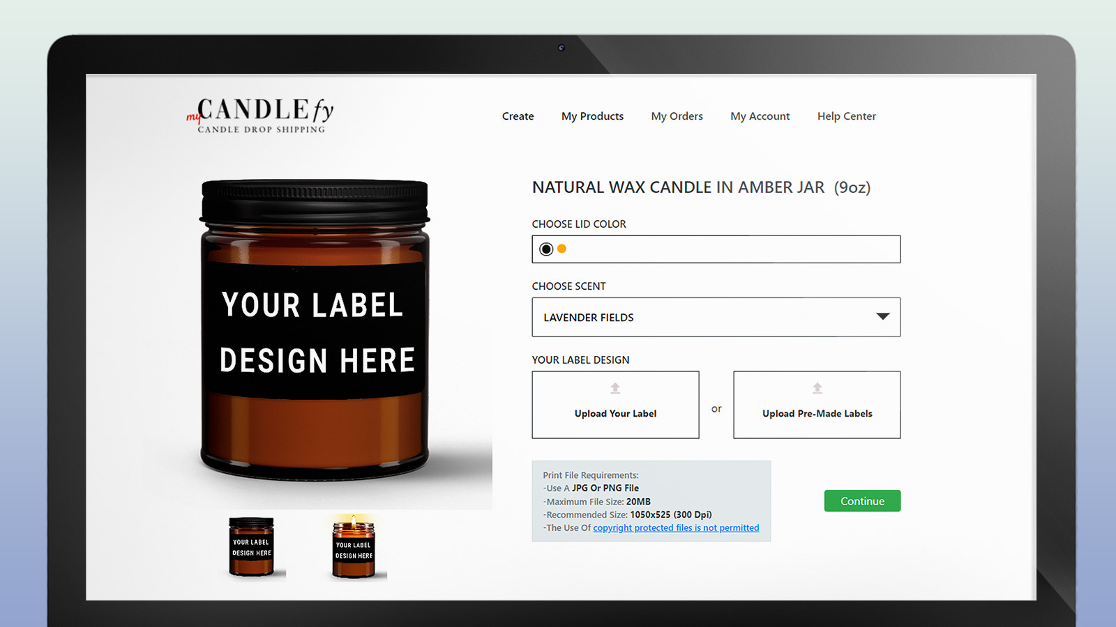 Drop Shipping Candles: Upload your label to create your candle