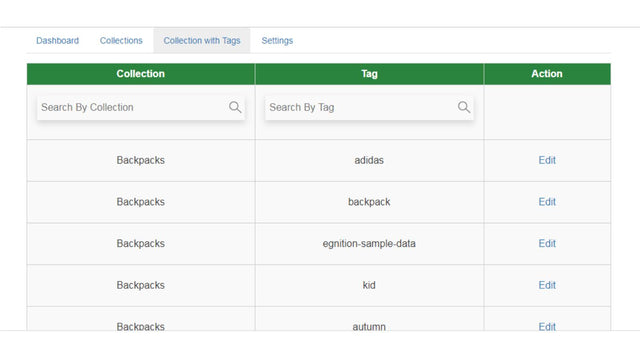 collections pages with tags
