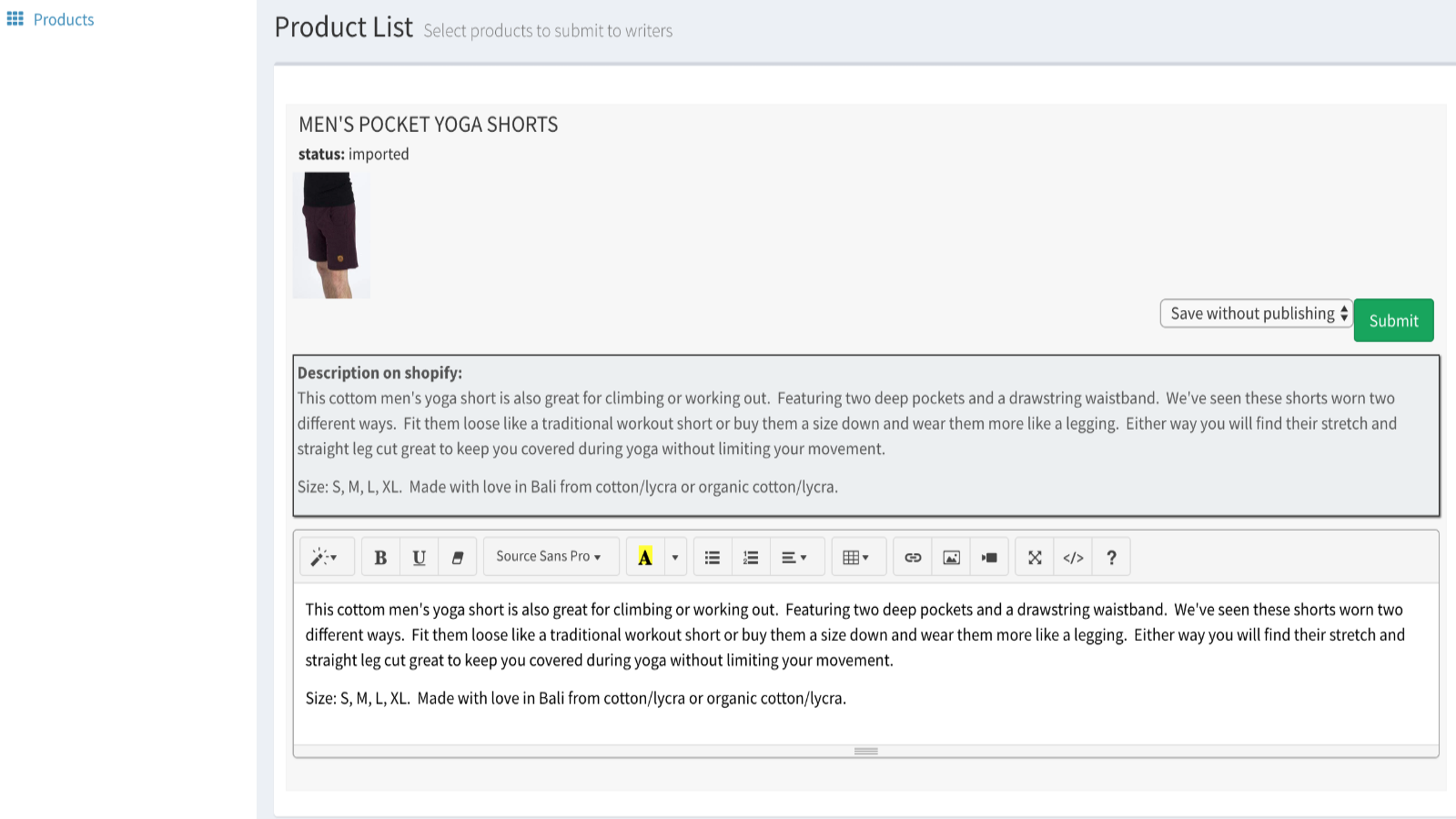 Get product description automatically added to shop