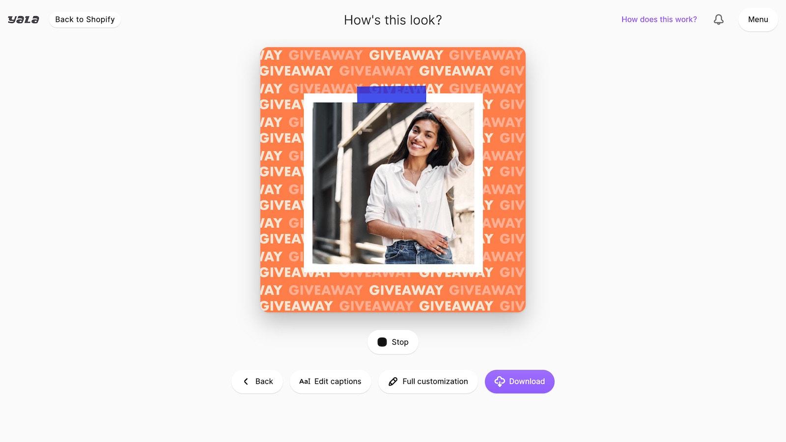 Yala builds an animation from your product images
