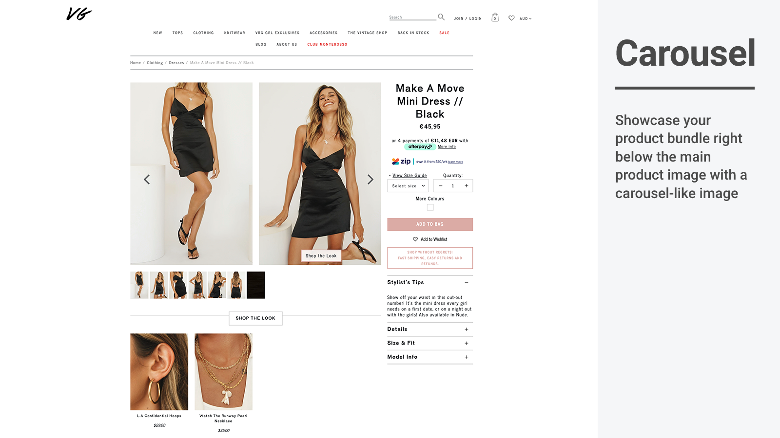 Shop The Look layout pour cross sell