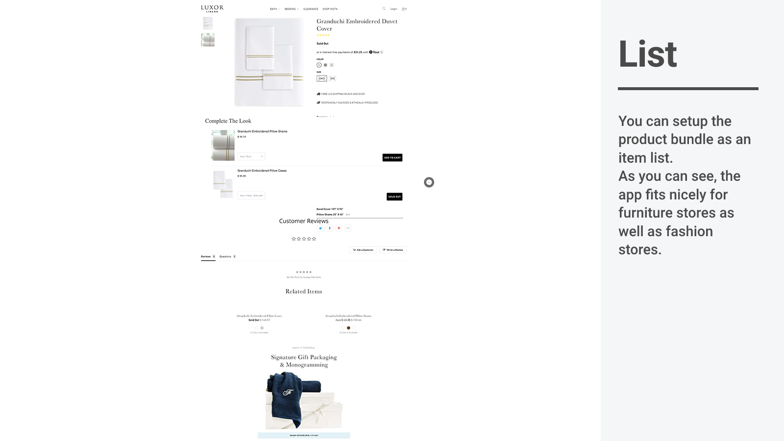 Shop The Look list layout