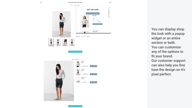 Shop The Look design: popup and embedded section
