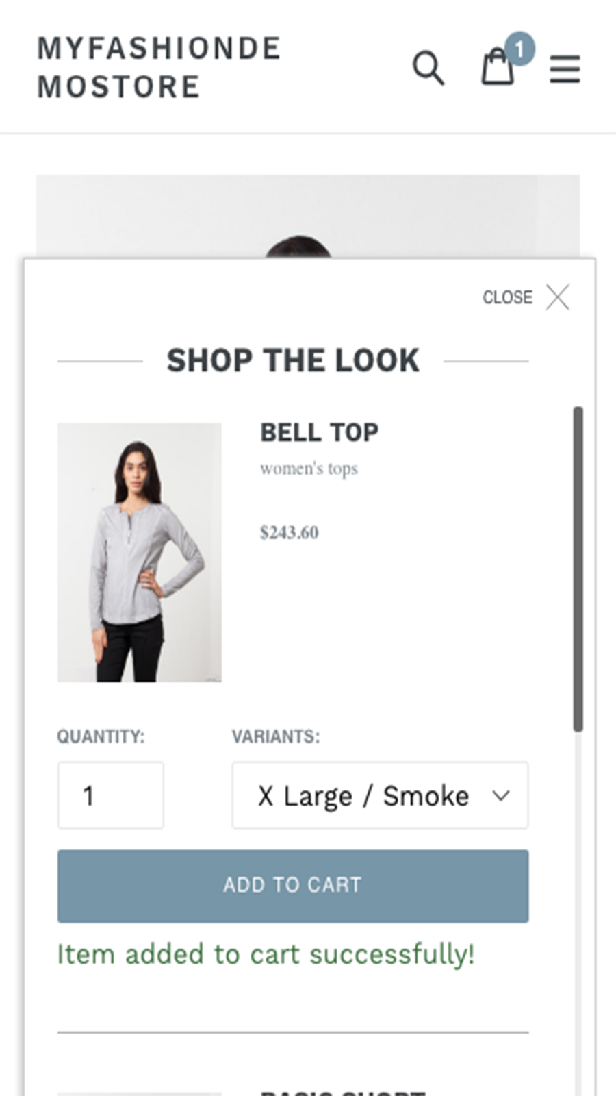 Shop The Look popup on mobile