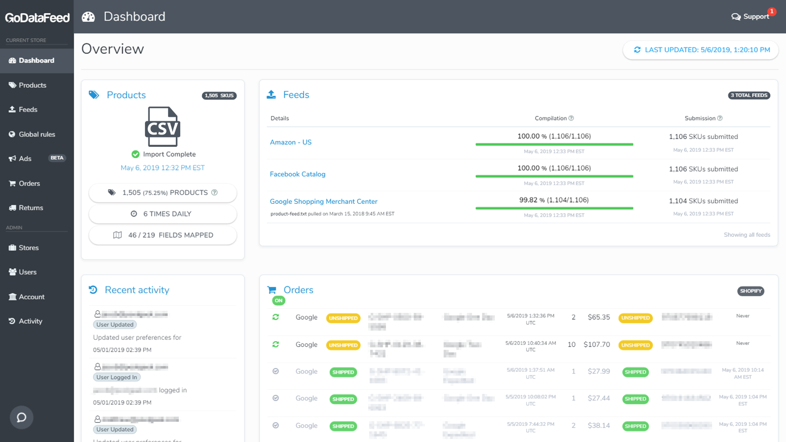 shopify product feeds dashboard