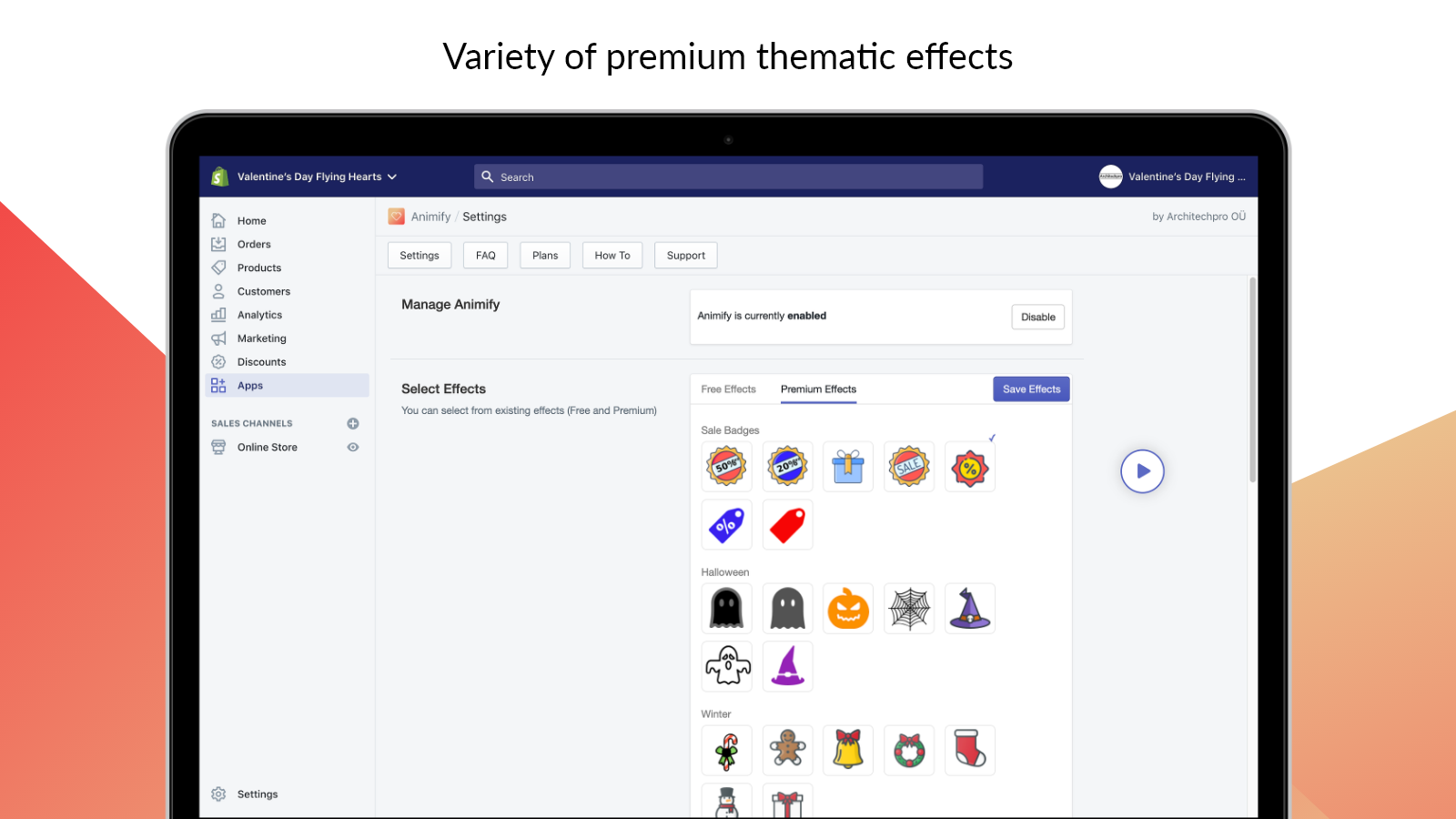 Animated Premium effects on Shopify store
