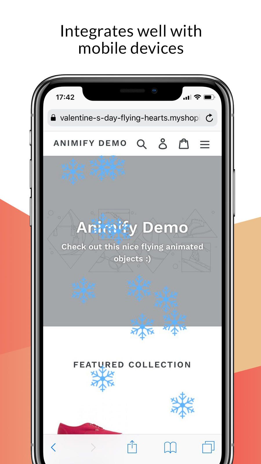 Mobile phone screen – falling snow animation for Shopify
