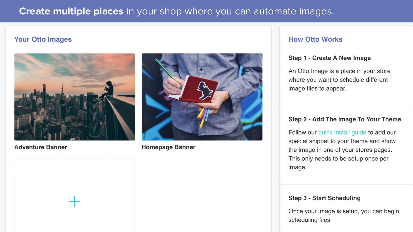 Create multiple places in your shop to automate images
