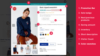shopify quick view app with upsell tool color swatch