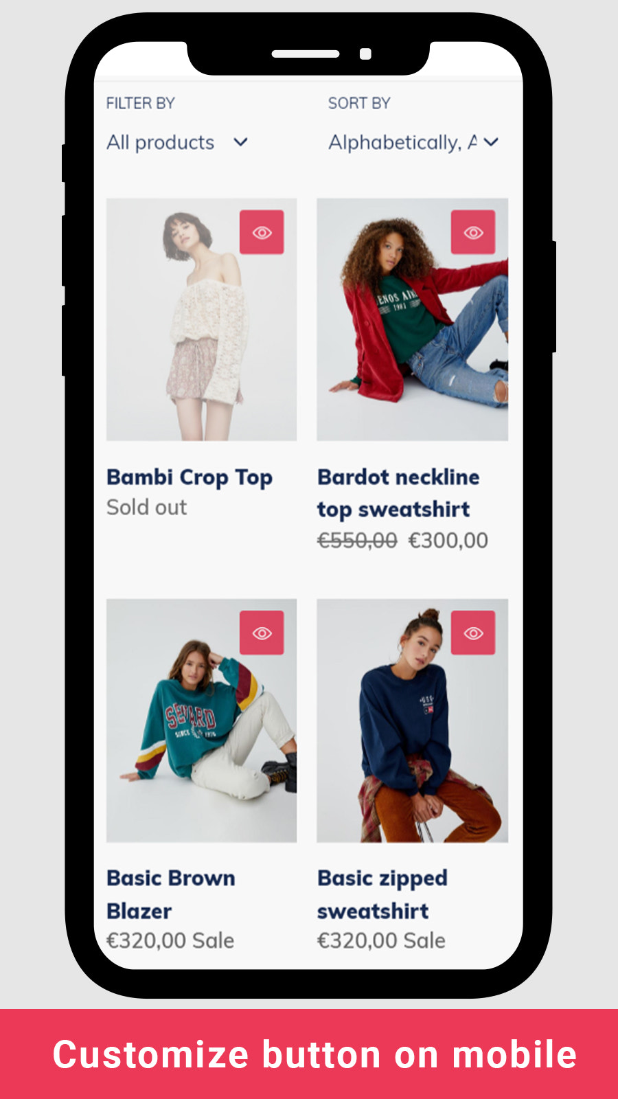 shopify quick view button on mobile