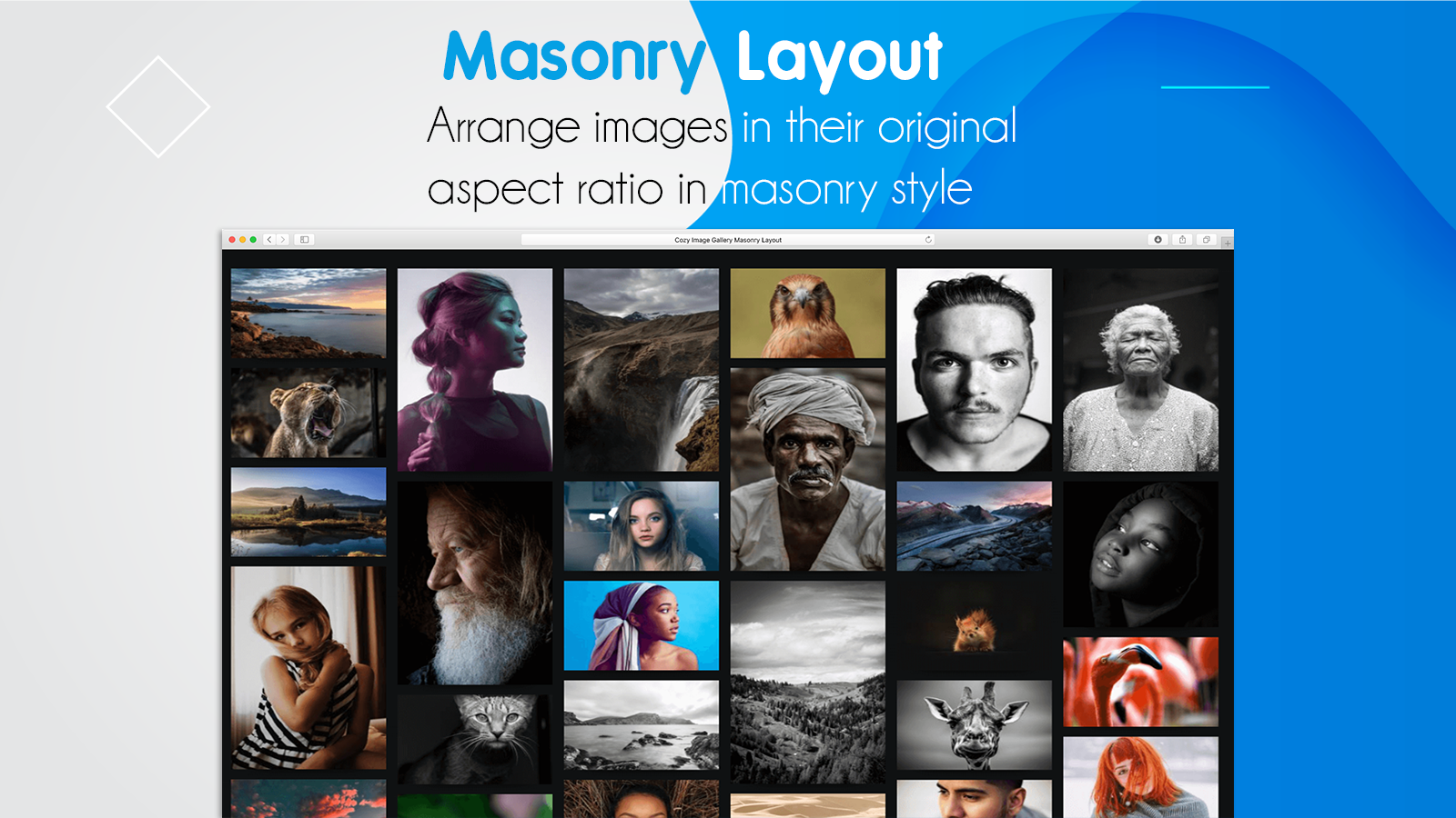 Masonry Shopify Image Gallery customizable captions and effects