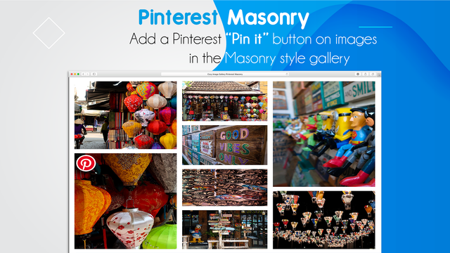Pinterest enabled shopify Gallery with hover effects