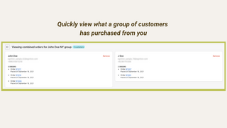 order history of group of customers