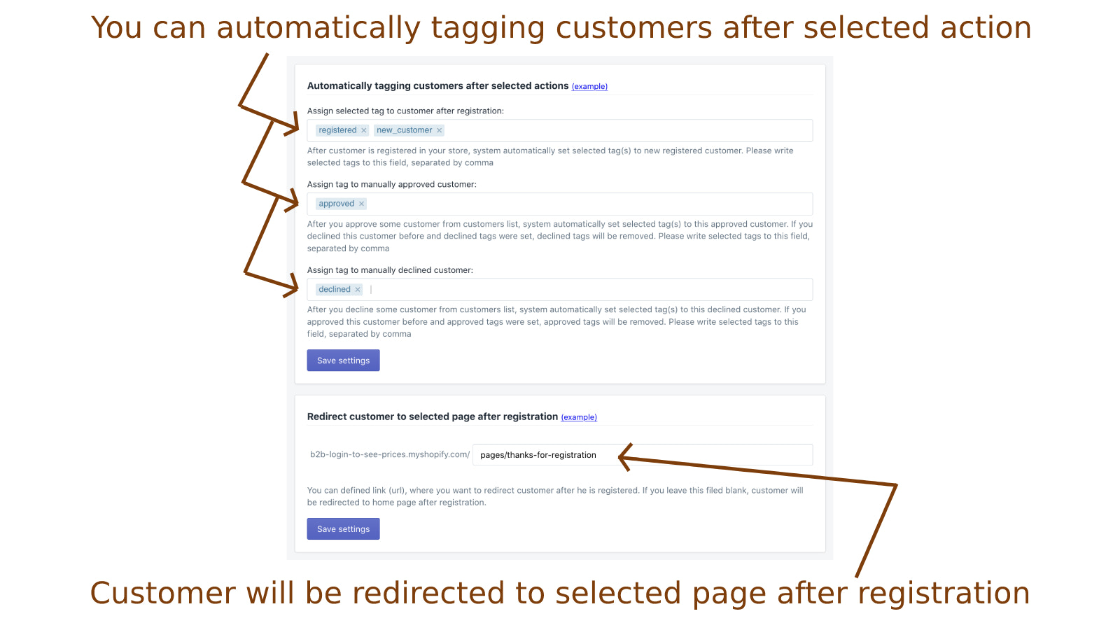 Auto tagging customers + redirecting customers after register