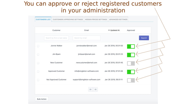 You can approve or reject registered customers