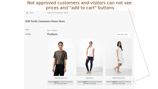 Not approved users can not see prices and