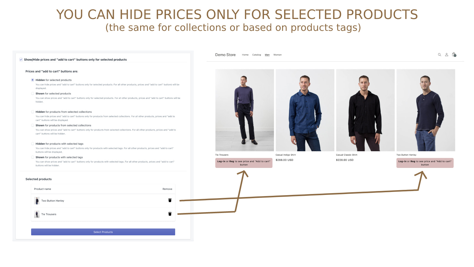 You can hide prices only for selected products