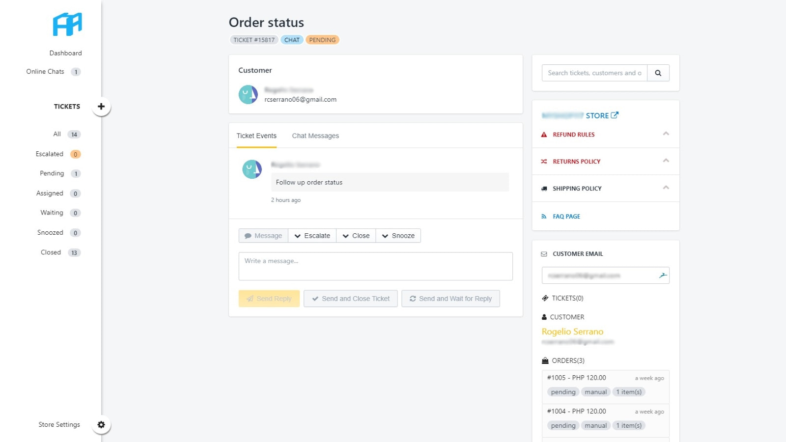 Manage customer support tickets through Helpcube