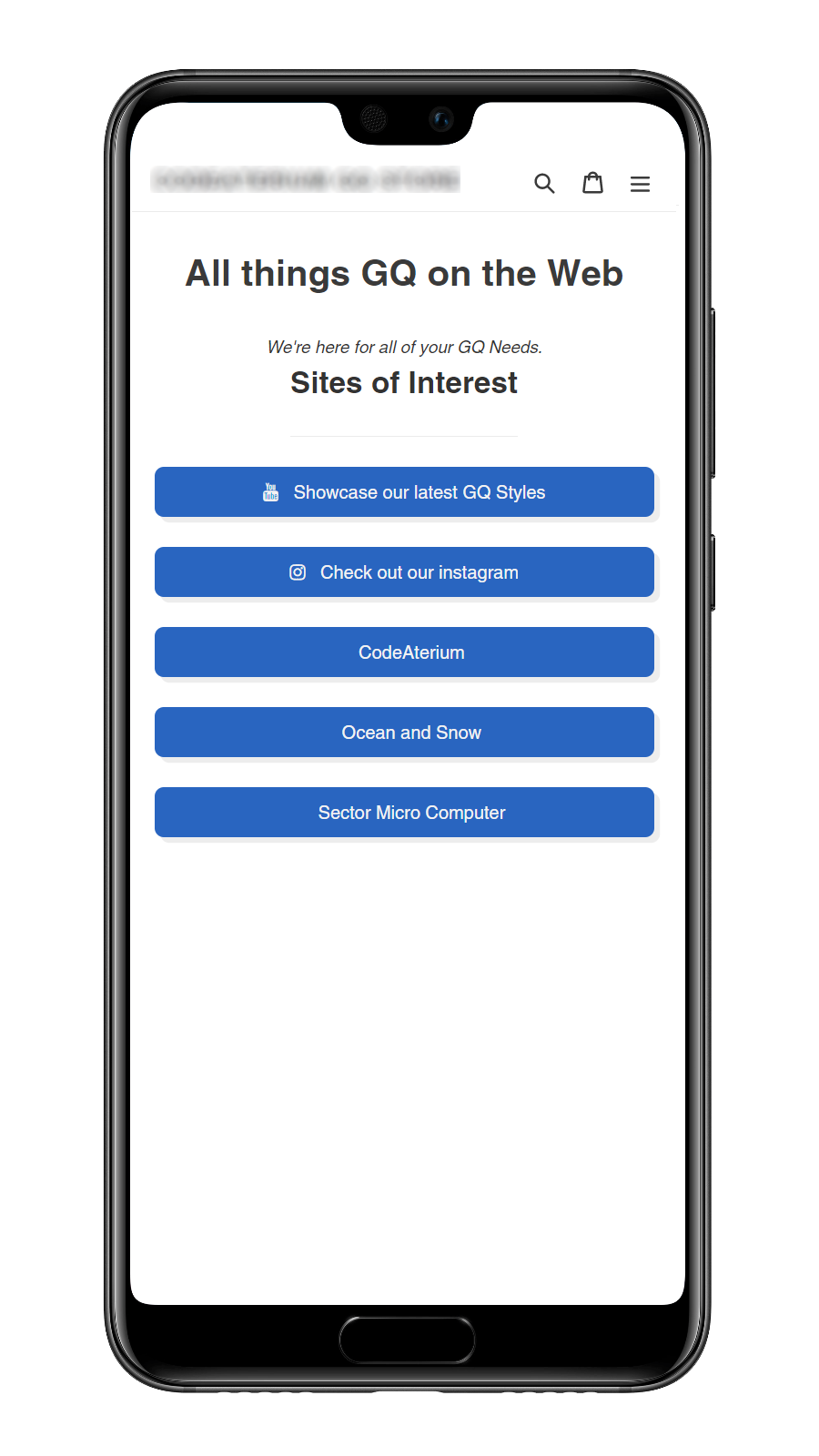 your generated page on mobile