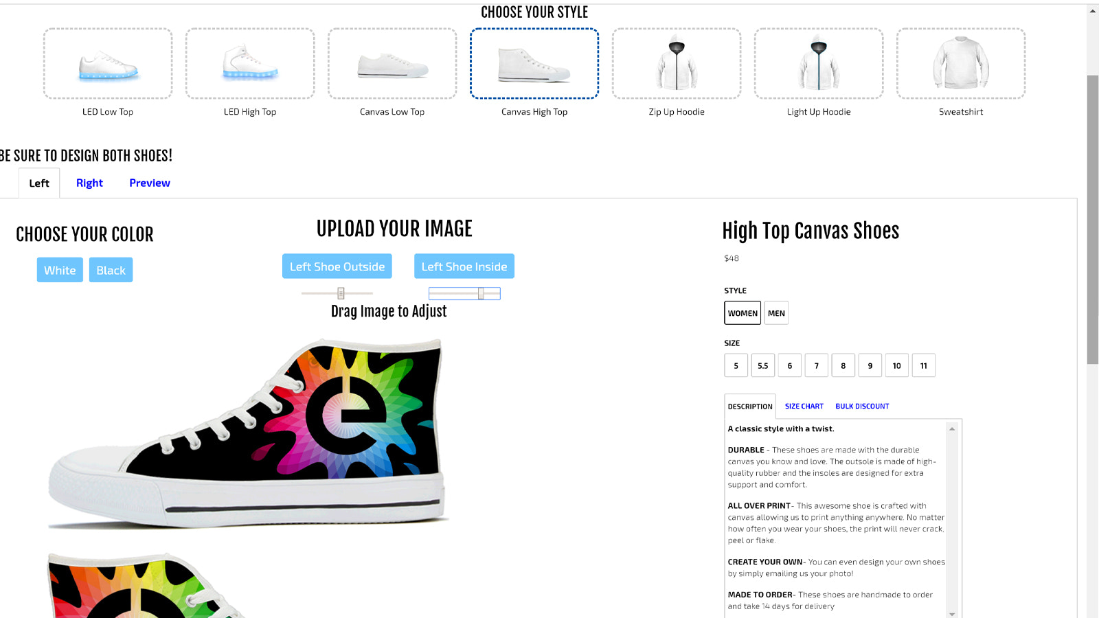 Customer designing canvas shoes