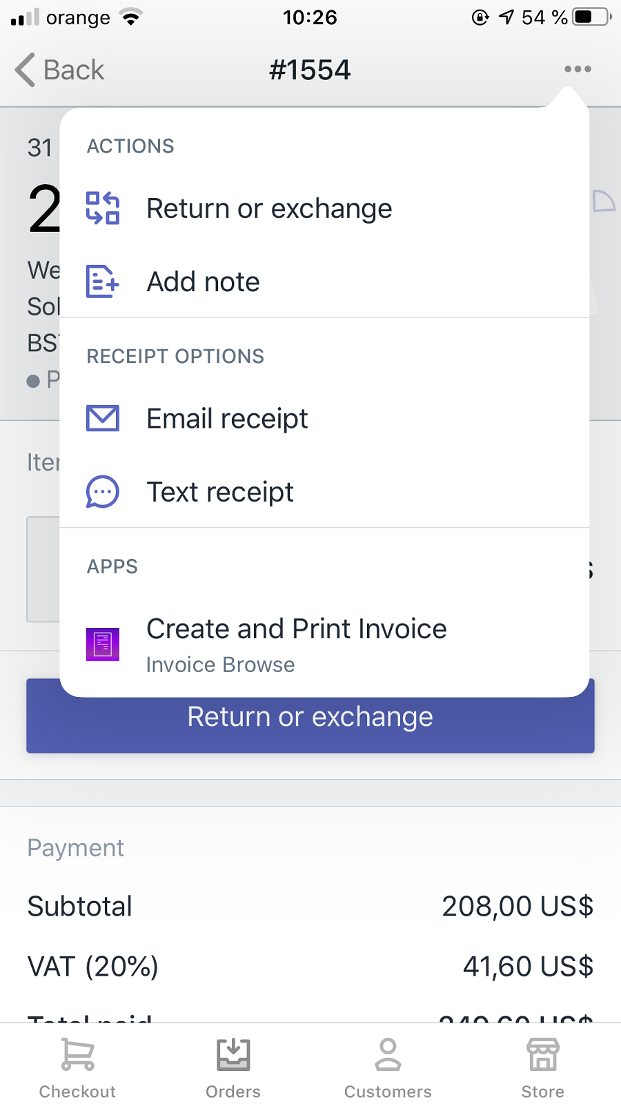 POS support. Print Invoices directly from your POS with one tap!