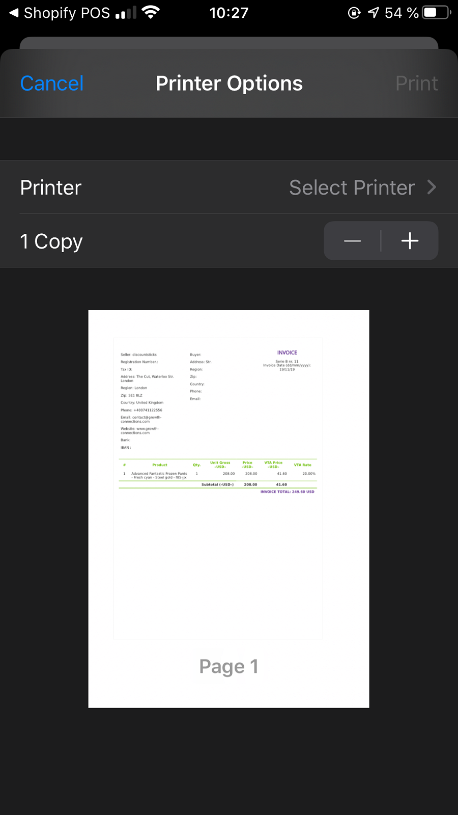 Fast invoice printing with one tap from POS iOS application.