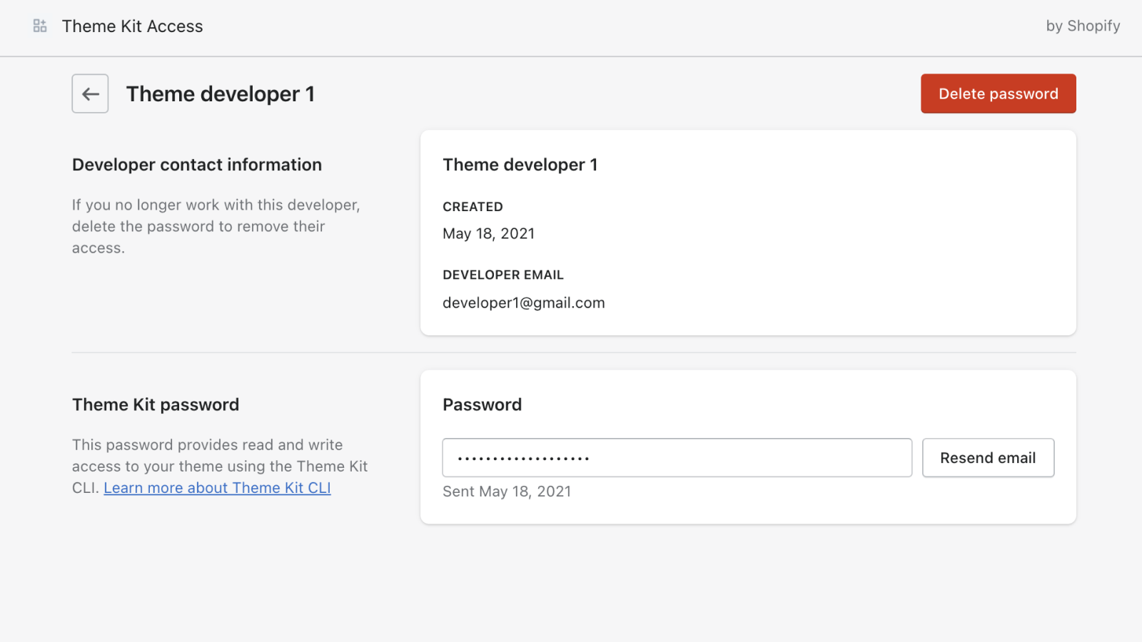 Quickly resend a Theme Kit Password via email