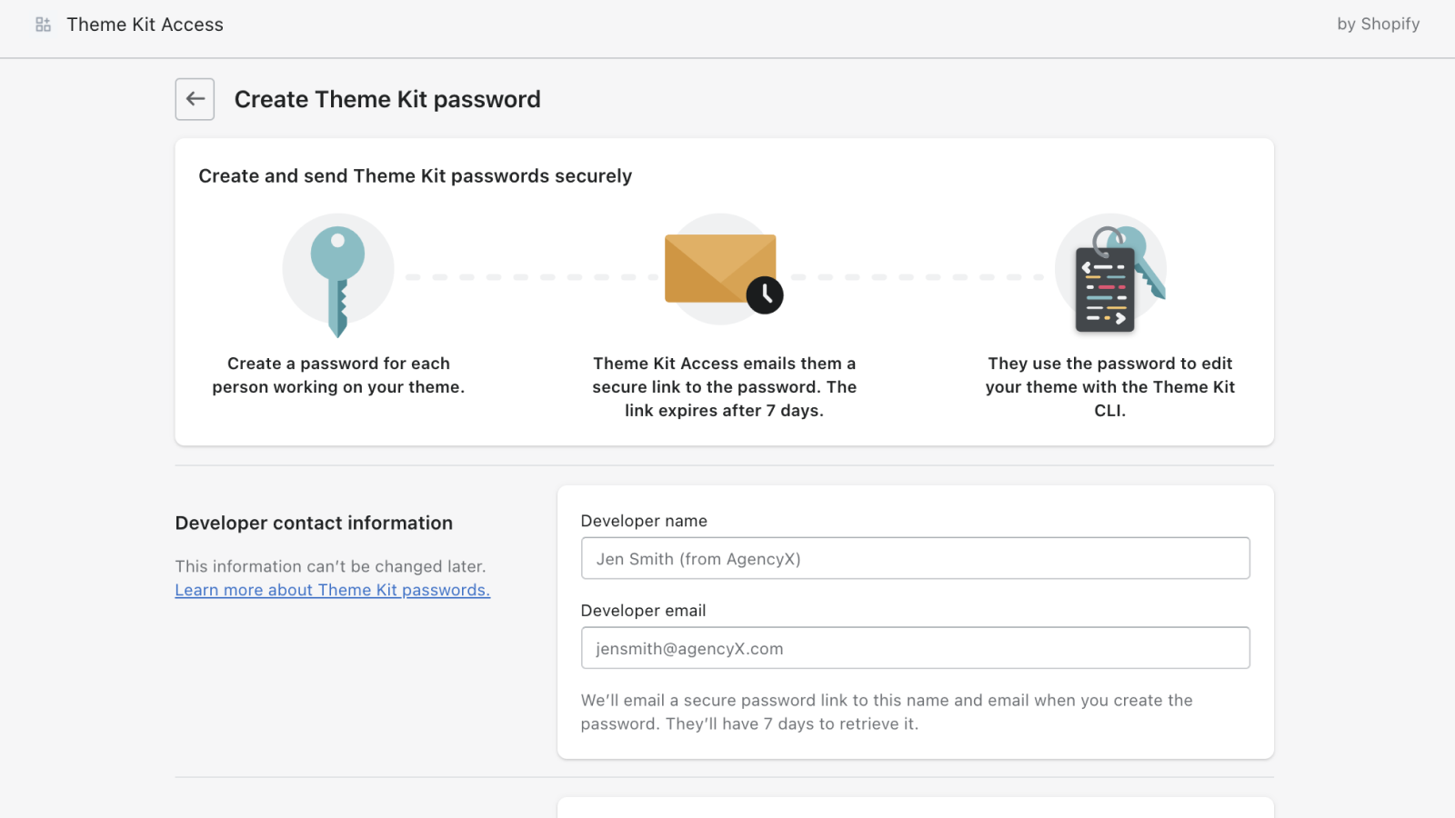 Create and send Theme Kit passwords to developer partners