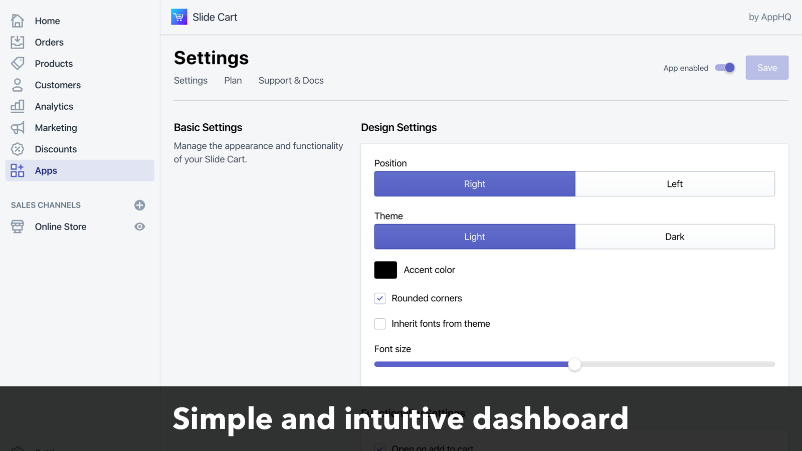 Slide Cart Drawer has a simple and intuitive dashboard