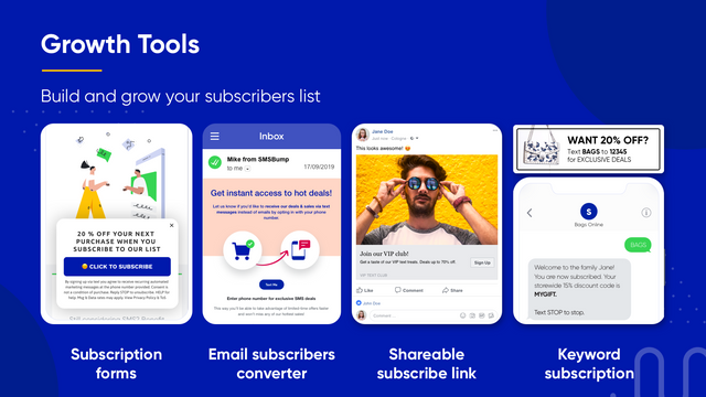 Growth Tools - Build and grow your SMS subscribers list