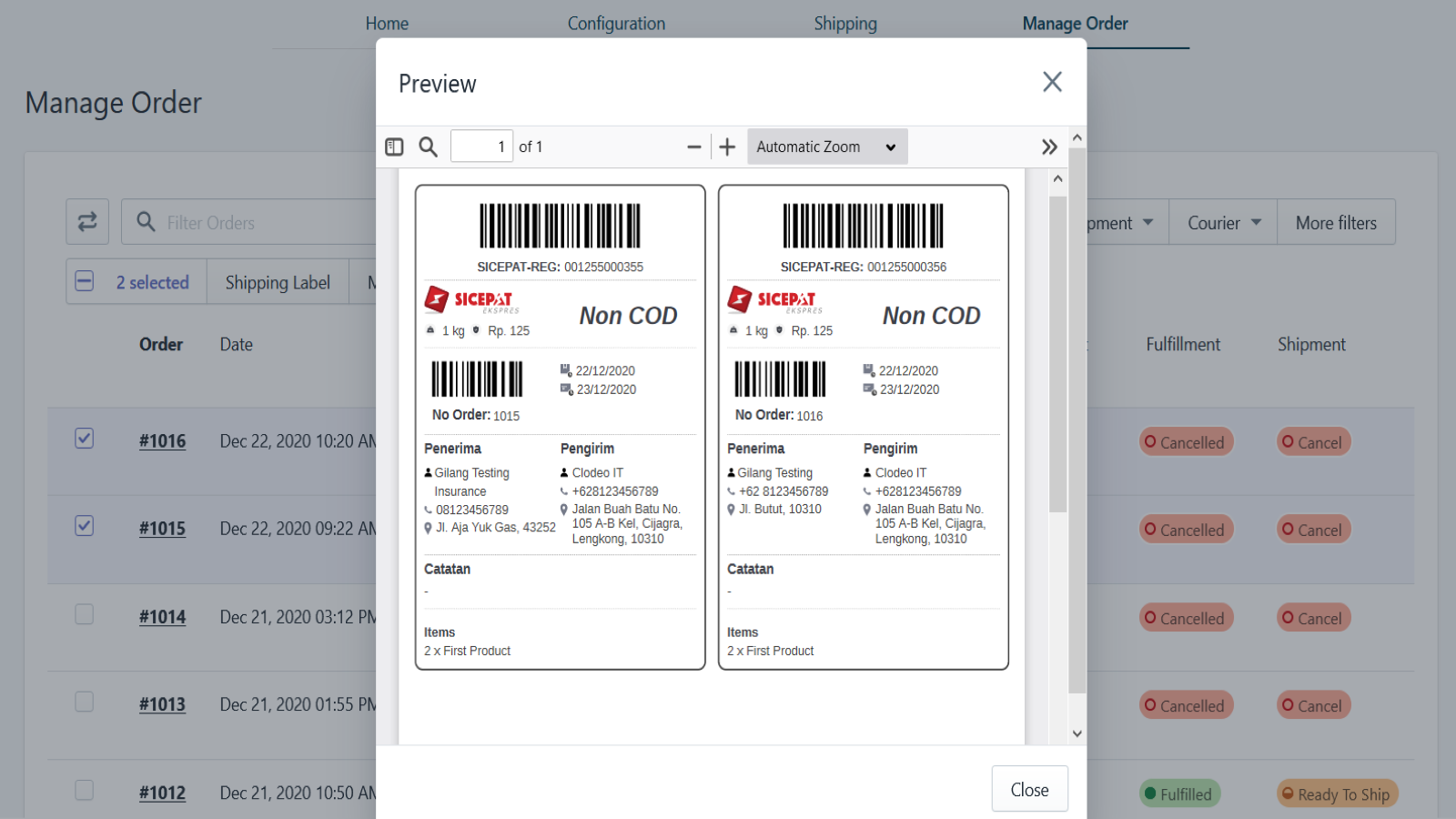 Print shipping labels easily