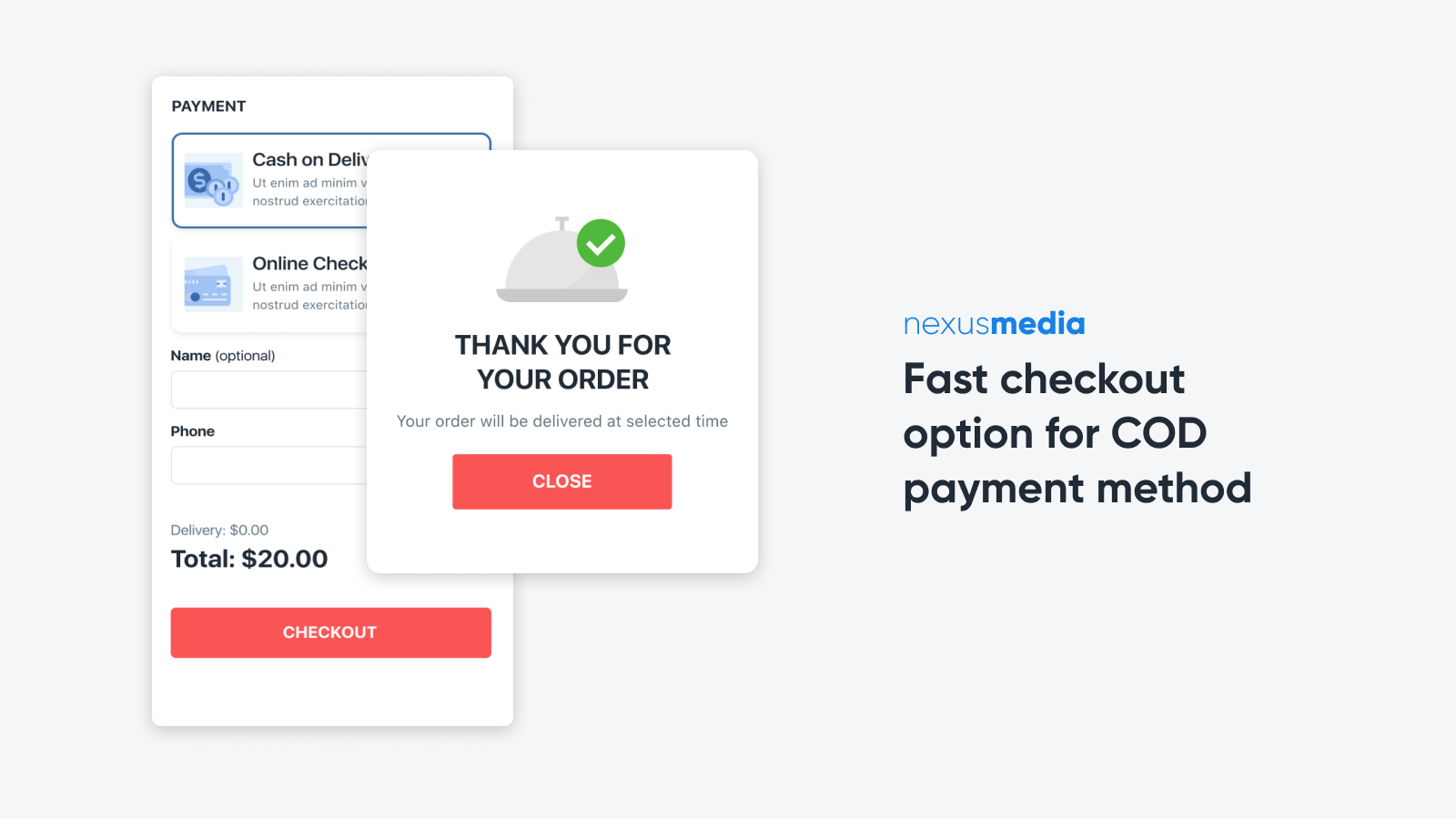 Fast checkout option for COD payment method