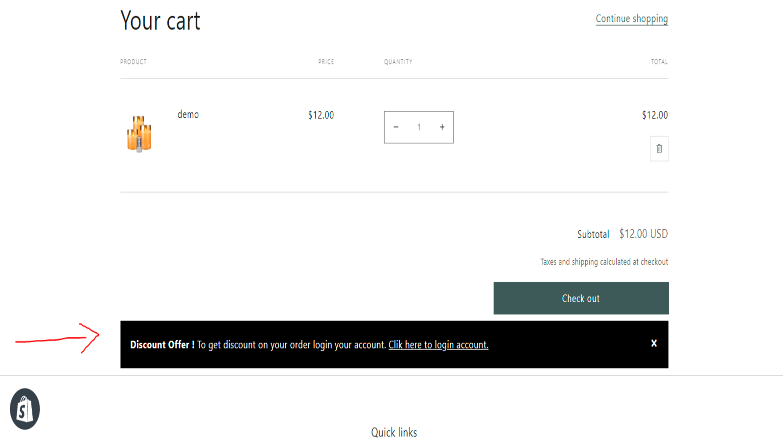 Login message display, to get discount offer button !