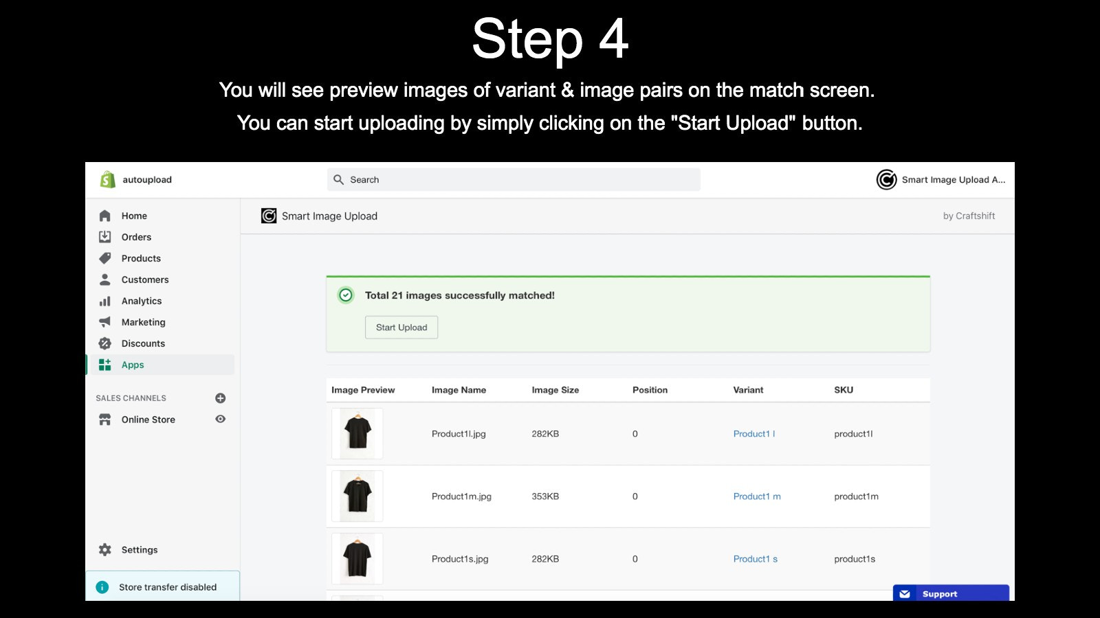 Step 4: Check match results and start upload if everything ok