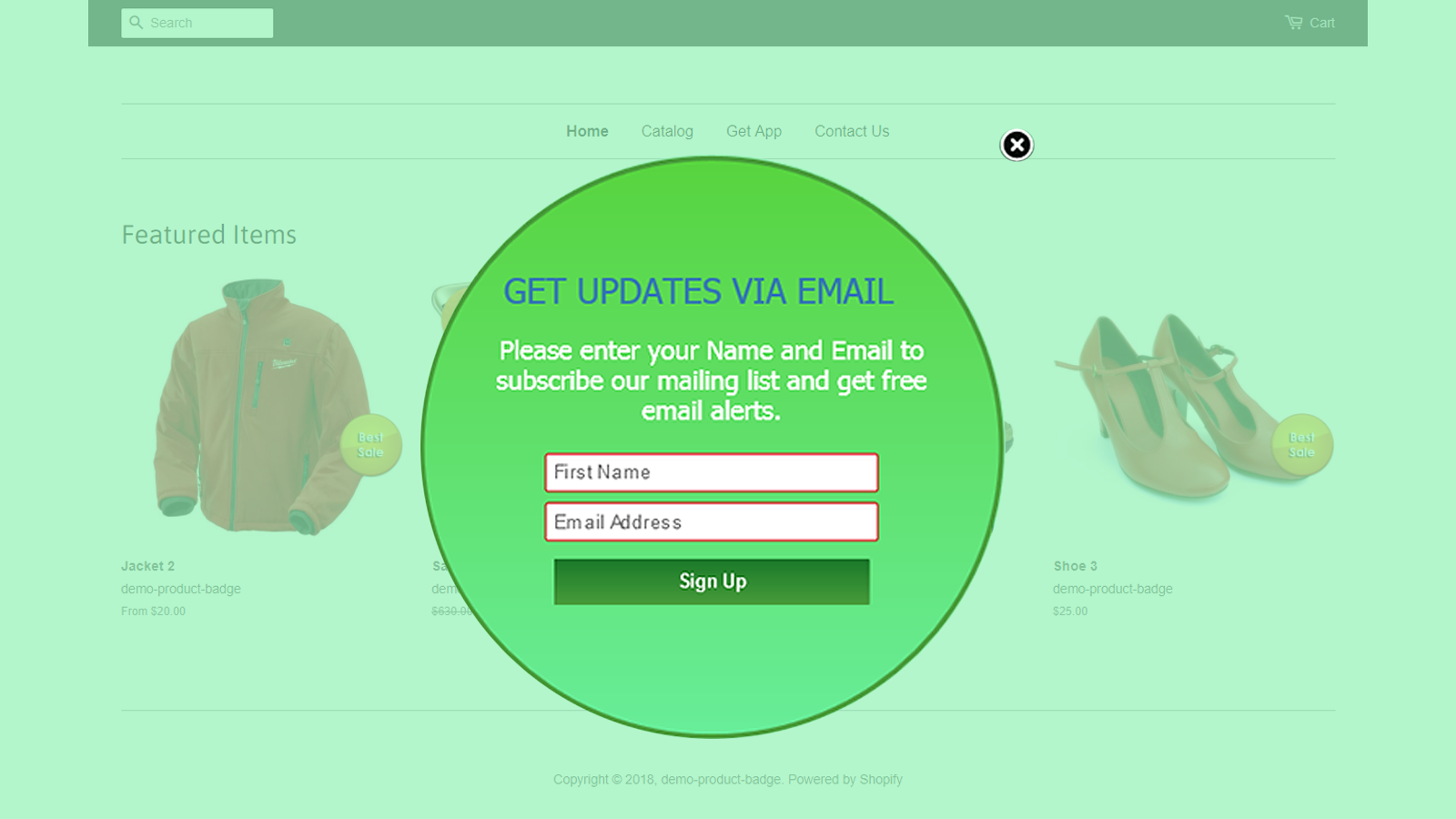 AWeber popup with custom content and design
