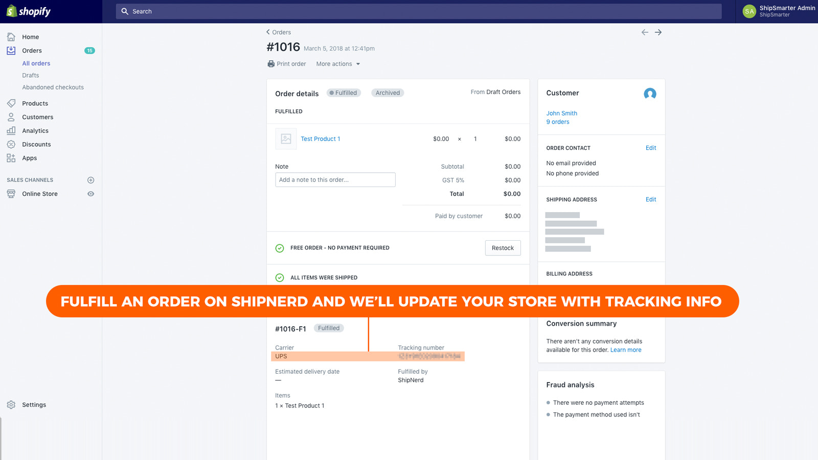 Your store updated with tracking info