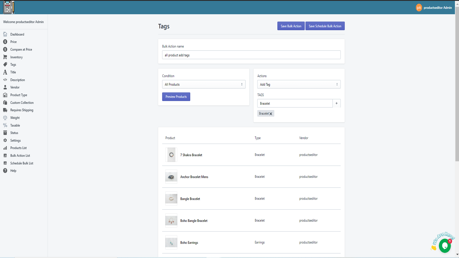 save product bulk actions
