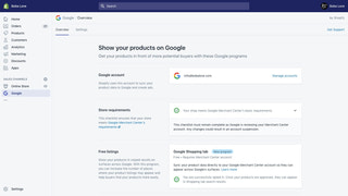 Overview page of Shopify's Google channel