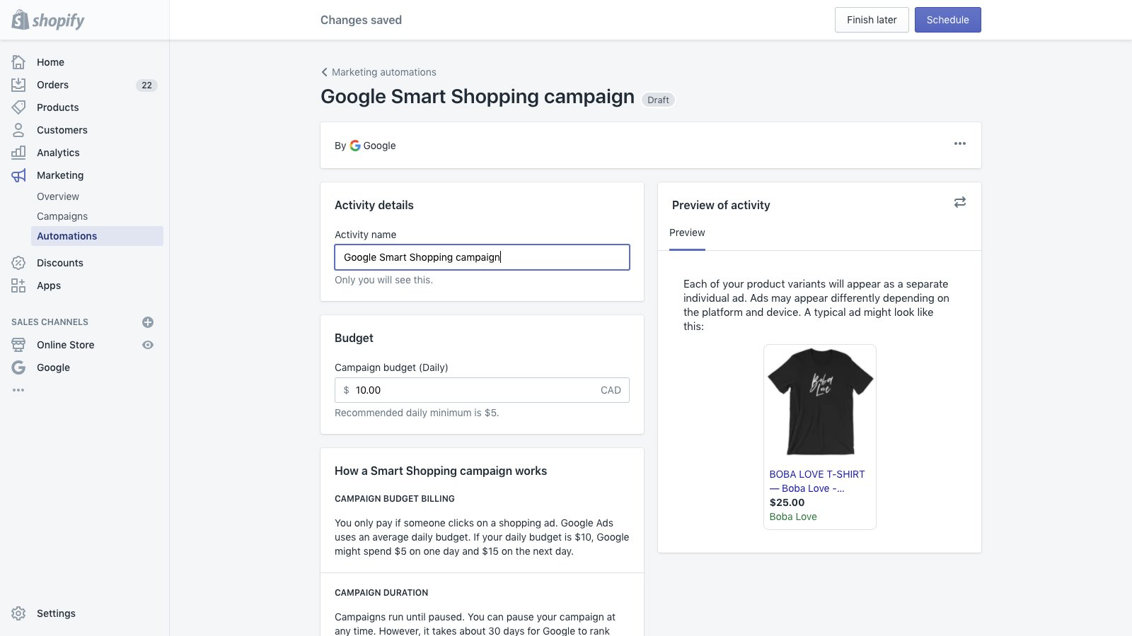 Example of Google Smart Shopping campaign creation screen.